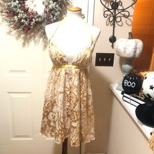Arden B Super Chic Silk Gold Party  Mini Dress